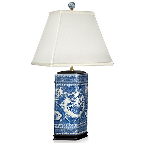 Blue and White Rose Canton Lamp