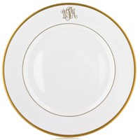 Pickard Signature Ultra White Gold Monogram Charger / Presentation Plate, Script