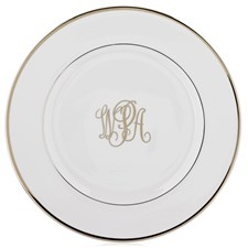 Pickard Ultra White Signature Monogram Charger / Service Plate, Platinum Script