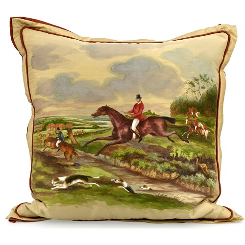 Handpainted Hunt Scene Silk Pillow, Rider Mounted