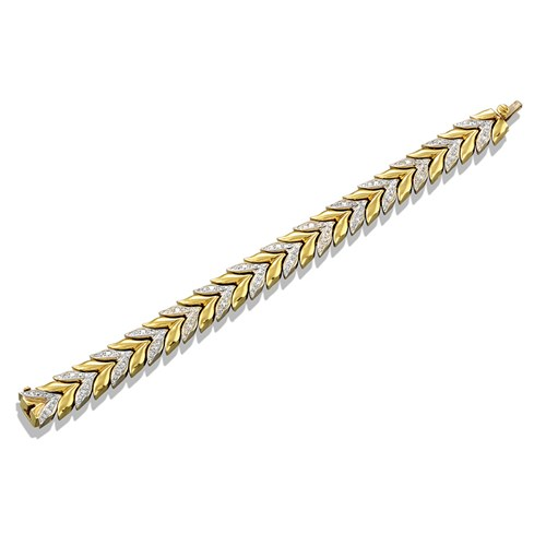 18k Yellow & White Gold Diamond V Bracelet