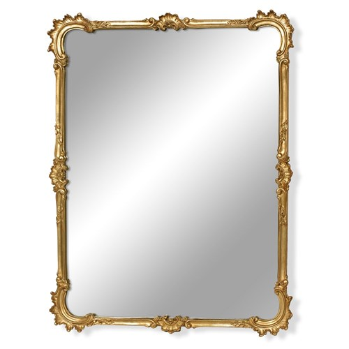 C-Scroll Antique Gold Beveled Mirror, Large