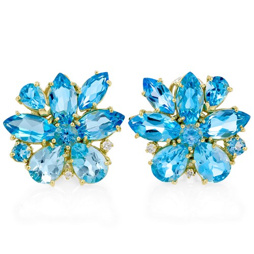 Blue Topaz & Diamond Starburst Earrings, Clips