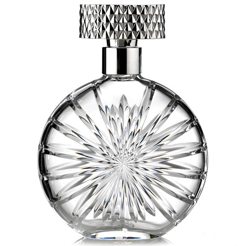 Crystal and Silverplate Decanter, Disc-Shaped