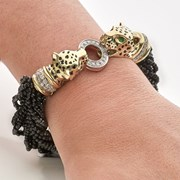 18k Yellow Gold Diamond & Spinel Cheetah Head Bracelet