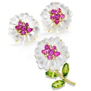 18k Gold Mother of Pearl & Pink Topaz Flower Earrings