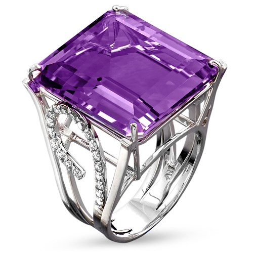 18k White Gold Amethyst Diamond Sided Ring