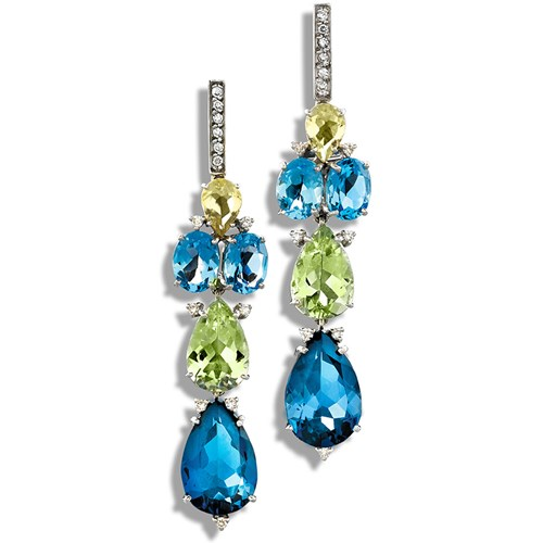18k White Gold London Blue Topaz Drop Earrings
