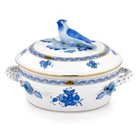 Herend Chinese Bouquet Blue Covered Vegetable Dish