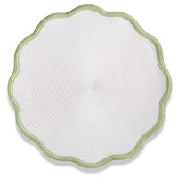 Color Trim Round Scalloped Braided Placemat, Moss Canary