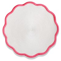 Color Trim Round Scalloped Braided Placemat, Rose Red