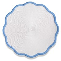 Color Trim Round Scalloped Braided Placemat, Colony Blue