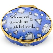 "Halcyon Days ""Whoever Said Diamonds are a Girl's Best Friend"" Enamel Box"