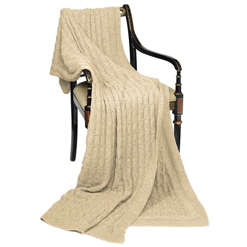 Cashmere Throw, Beige