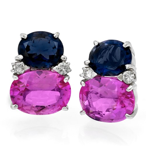 18k Iolite and Pink Topaz Gumdrop Earrings
