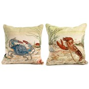 Blue Crab & Lobster Needlepoint Pillows