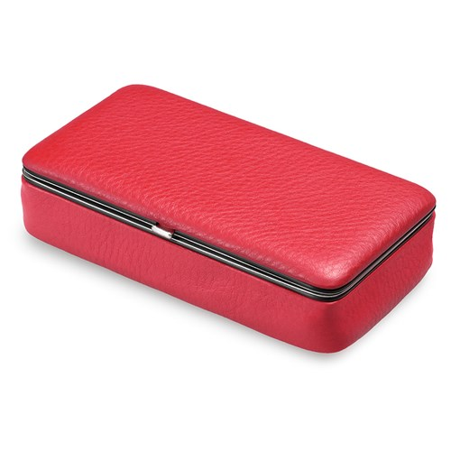 Calfskin Framed Cosmetic Bag with Mirror, Red