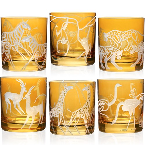 Safari Double Old Fashioned in Amber, Set of 6