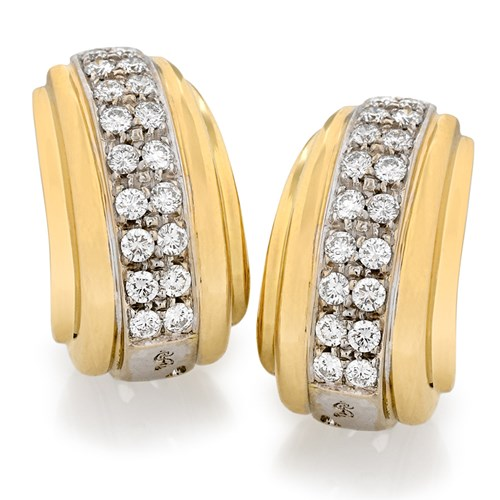 Gold & Diamond Deco Banded Earrings, Clips