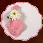 Color Trim Round Scalloped Braided Placemats