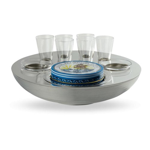 Ercuis Transat Silverplated Caviar & Vodka Set for 6