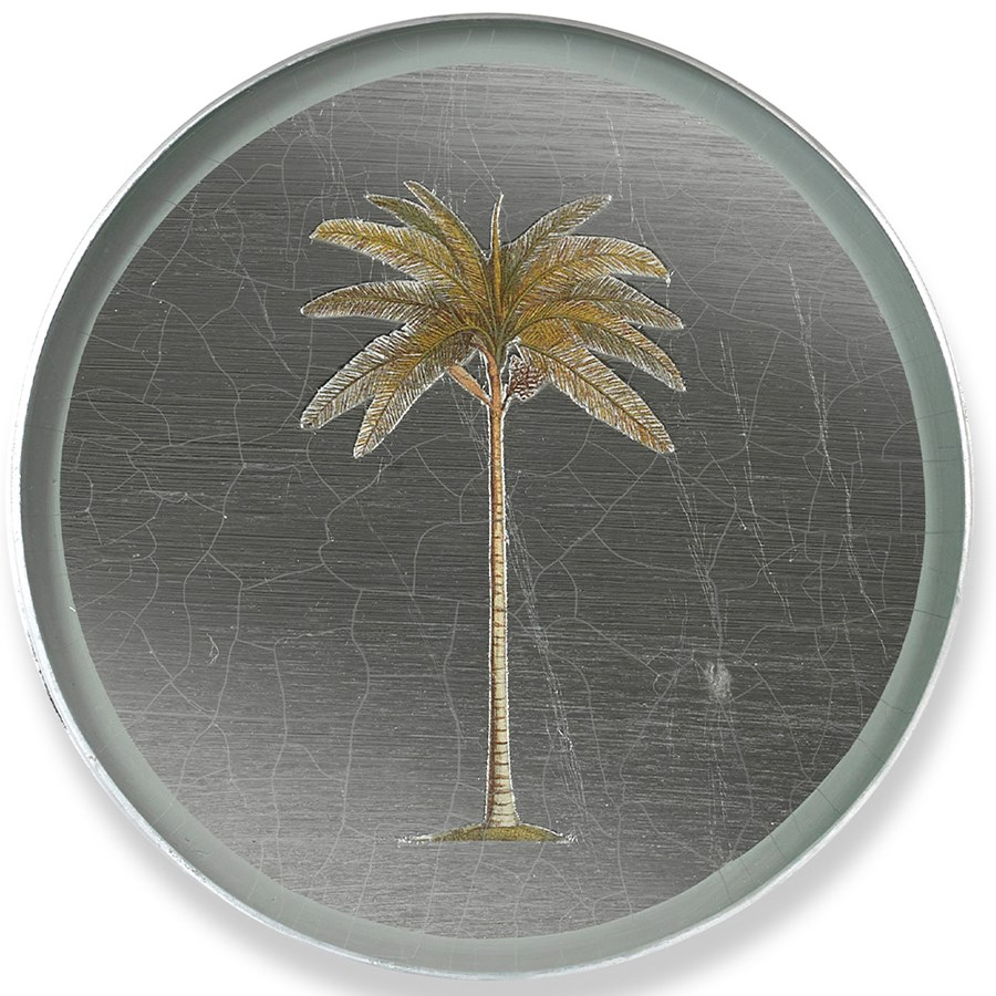Palm Tree Round Glass Coaster Placemats Coasters Table Accents Tabletop Scullyandscully Com