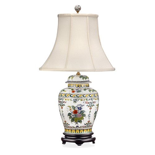 Bouquet & Garland Porcelain Jar Lamp