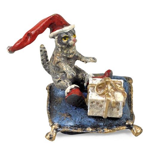 Austrian Bronze Cat on Pillow with Gift and Santa Hat