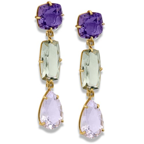 18k Yellow Gold Tri-Drop Earrings with Amethyst & Prasiolite