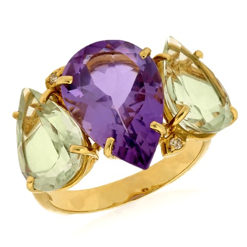 18k Yellow Gold 3 Stone Amethyst & Prasiolite Ring