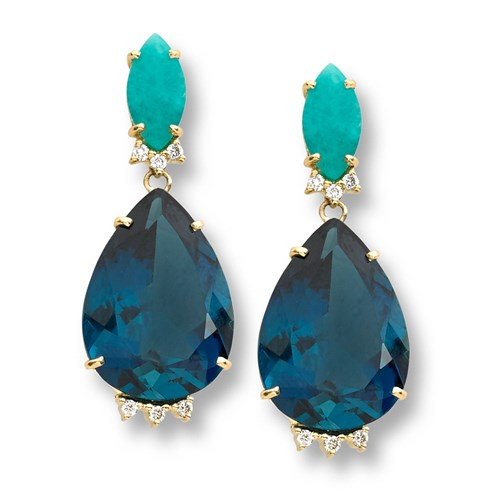 18K Gold London Blue Topaz Pear & Amazonite Almond Diamond Drop Earrings, Posts Only