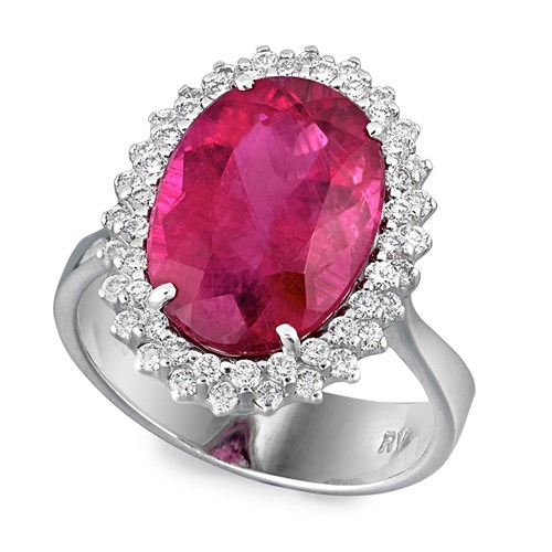 18k White Gold Rubelite & Diamond Petals Ring