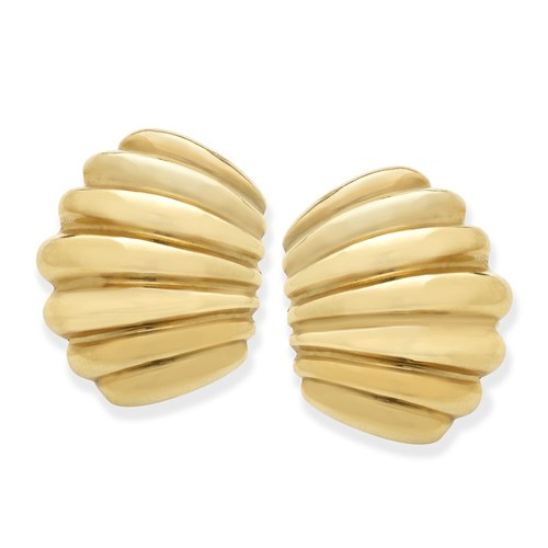 18k Gold Crescent Earrings, Clips