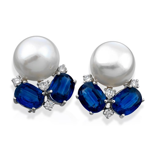 18k White Gold & Kyanite Pearl Top Earrings with Diamonds, Clips