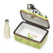 Cow with Milk Bottle Limoges Box