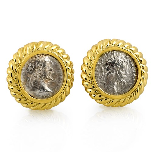 Ancient Roman Silver Coin Earrings, Fluted Clips