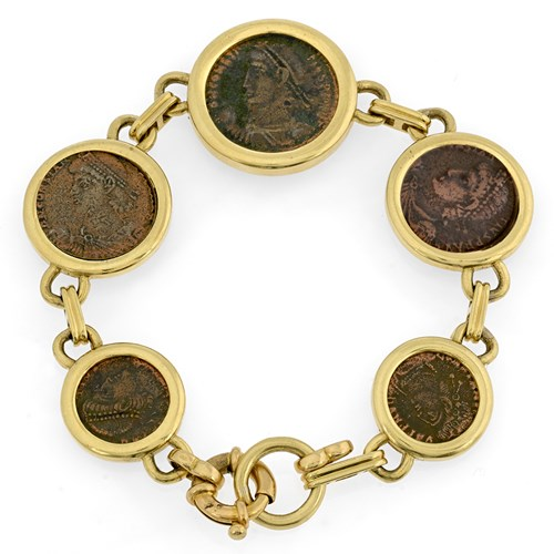 18k Yellow Gold Constantine Coin Bracelet