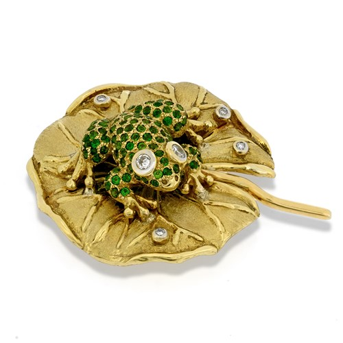 18k Gold & Chrome Diopside Frog on Lily Pad Pin