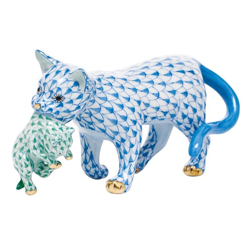 Herend Motherly Love, Blue Cat with Green Kitten