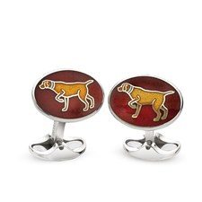 Sterling Silver Maroon Dog Cufflinks