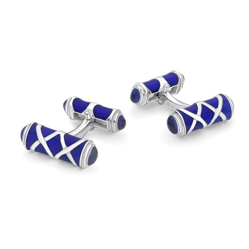 Sterling Silver Column Bar Cufflinks, Royal Blue with Sapphires
