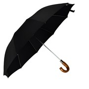 Telescopic Brown Maple Crook Umbrella, Black