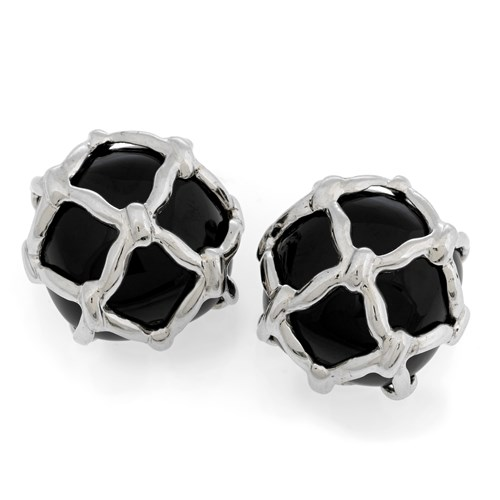 18k White Gold Black Onyx Net Covered Earrings
