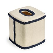 Monogrammed Tissue Box Cover with Blue Trim