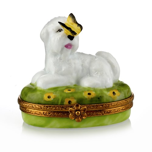 Bichon Frise with Yellow Butterfly Limoges Box