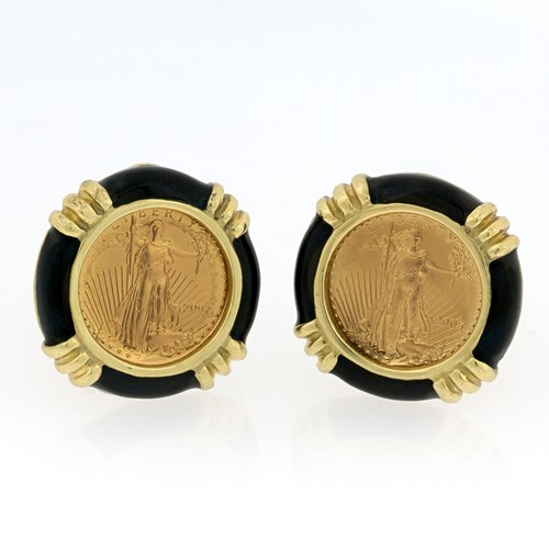 18k Yellow Gold Liberty Coin Earrings, Posts