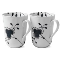 Royal Copenhagen Black Fluted Mega Mug 2-Pack