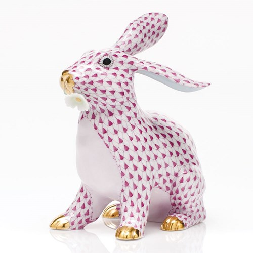 Herend Bunny with Daisy, Raspberry