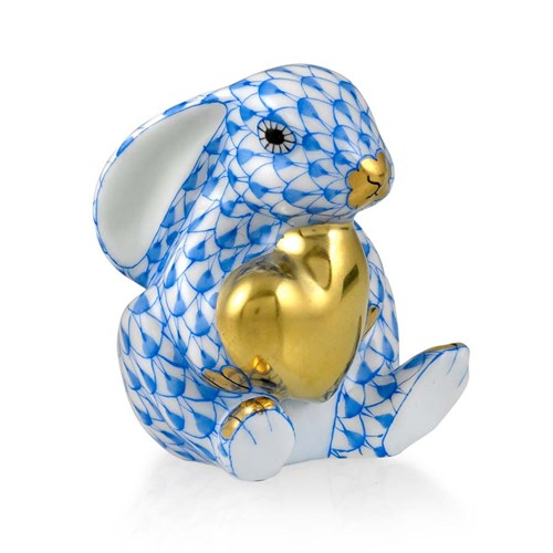 Herend Bunny with Heart Blue