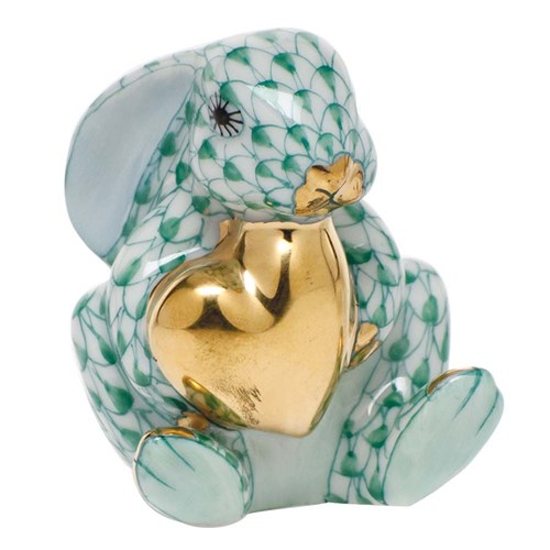 Herend Bunny with Heart Green